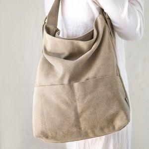 Canvas Vegan Crossbody Hobo Bag